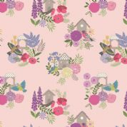 Lewis & Irene Grandma's Garden - 5296 - Floral, Birdhouses on Pink - A198.2 - Cotton Fabric